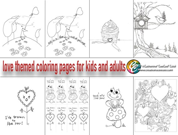 love themed printable coloring pages for adults and kids