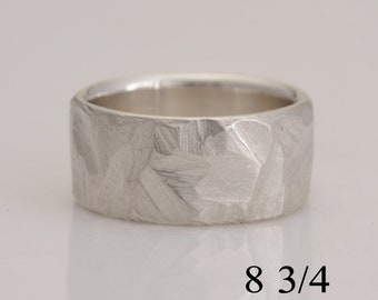 Wide silver band, chainsaw rough cut, size 8 3/4 or made to order, #892