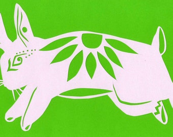 Bunny rabbit papercutting