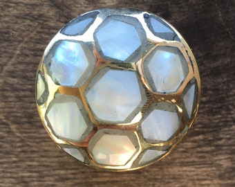 Drawer Knobs with Shell - Mother of Pearl Round Drawer Knob Gold Details - Soccer Ball Pattern