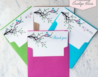 Printed Matching Envelope Liner   A2 Sized Liner   Wedding Thank You Card   Bridal Shower Gift   Thank You From The Mr and Mrs   Lovebirds