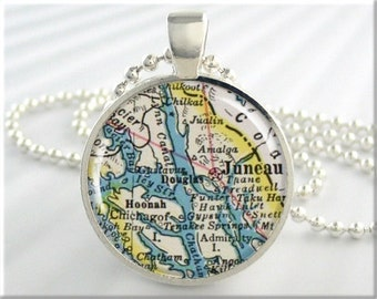 Juneau Map Pendant, Resin Charm, Juneau Alaska Map Necklace, Picture Jewelry, Gift Under 20, Round Silver, Travel Gift 487RS