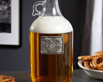 Royal Crested Personalized Beer Growler - Gifts for Women and Men Beer Lovers - Ideal for Craft Beer Storage - Pewter Crested Growler