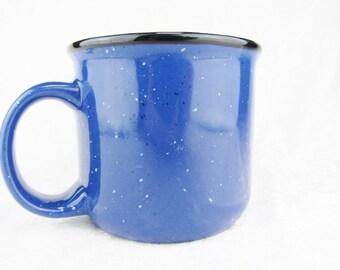 Large Stoneware Coffee Mug Blue Pottery Coffee Mug Rustic Large Ceramic Coffee Mugs Cups 16 oz. Traditional Round and Sturdy No Frills