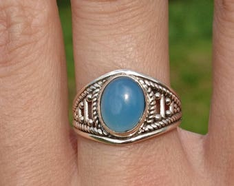 Indian aquamarine on silver ring.