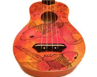 Koi fish Ukulele, Orange Painted Ukulele, Ocean Ukulele, Koi Fish Painting Ukulele, Decorated Soprano Ukulele, instrument