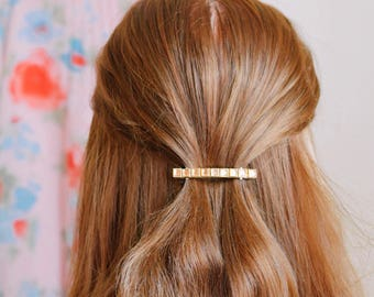 Barrette hair clip with gold/ brass rhinestones, perfect occasssion hair accessory for women | gift for her