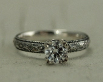 Vintage Style Hand Made Engagement Ring--White Sapphire, White Topaz or Cubic Zirconia--Silver with 14K White Gold Double Prong Setting