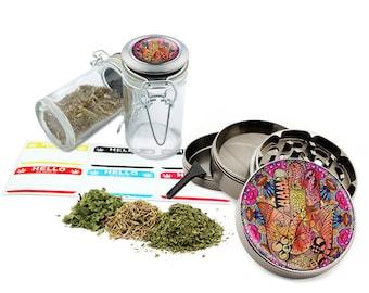 "Hamsa - 2.5"" Zinc Alloy Grinder & 75ml Locking Top Glass Jar Combo Gift Set Item # G123114-0008"