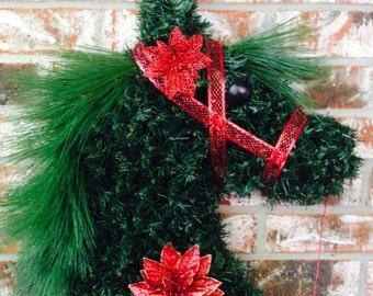 Horse Head Wreath, Christmas Wreath, Red Christmas Wreath