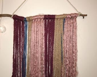 Rosey Branch + Fringe Wall Hanging