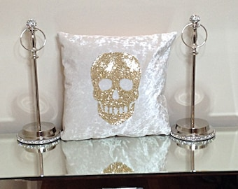 Glitter Skull Cushion, glitter cushion, 17x17