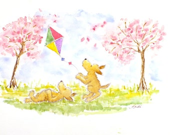 Puppy Kite Flying Original signed watercolor  Original watercolour painting nursery art fantasy illustration Puppies watercolor Cute dogs