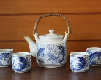 Otagiri bamboo Handle Hand Painted Teapot With four Matching Cups