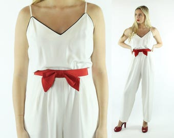 80s White Sleeveless Jumpsuit Jumper Pants Romper Vintage 1980s Medium M Sybil