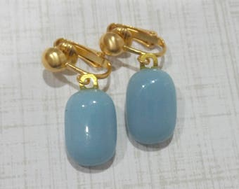Powder Blue Clip On Earrings, Dangle Clip Earrings, Light Blue Clip On Earrings, Fused Glass Jewelry, Ready to Ship - Spring Skies -7