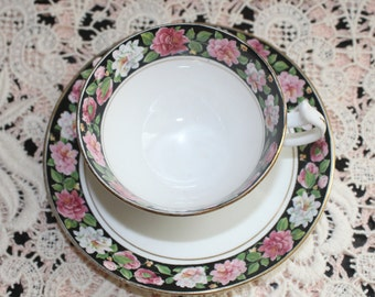Vintage English Teacup & Saucer by Jocelyn China England Black Border with Pink, Red and White Roses Very Nice Condition