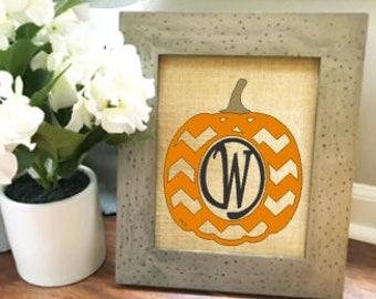 Chevron Pumpkin burlap print