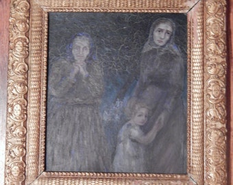 Antique Oil painting - Captivating image of 3 Generations of Women / Children