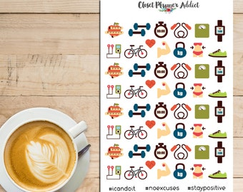 Health and Fitness Planner Stickers | Exercise Workout | Exercise Gear | Fitness Stickers (S-021)