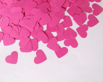 Wedding confetti hearts - Pink Paper hearts - die cut hearts - paper heart confetti - weddings