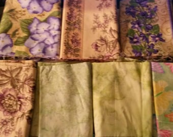 8 Floral and Green Marble Fat Quarters With 1 Butterfly Sparkle Fat Quarter