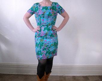 Vintage SILK Dress // 1960s Floral Print Dress // Turquoise Sheath Dress Mad Men // Cocktail Dress // Floral Bridesmaid Dress // Medium