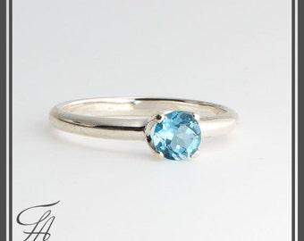 Blue Topaz Ring, Genuine Stone Ring, Swiss Blue Topaz Ring, Engagement Ring, Birthstone Ring, Minimalist Jewelry, Wedding Jewelry, Gift Ring