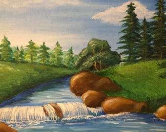Waterfall Landscape original acrylic painting