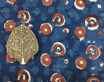 Hand Block Printed Indigo Resist Cotton Fabric - Natural Indigo Fabric - Printed Cotton Fabric - White & Indigo Upholstery Cotton Fabric