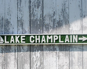 Lake Champlain wooden sign hand carved Vermont wall art lake house home decor