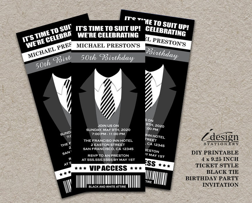 Tuxedo 50th birthday party ticket invitation printable zoom filmwisefo Images