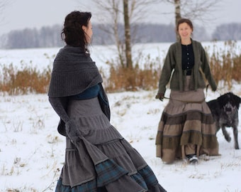 Maxi wool skirt in warm colour scheme Herald