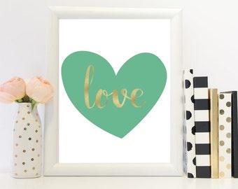 Love print, heart shaped print, love wall art, a4, foil style print, a3, Home decor, Love quote, Olive green print, Heart print