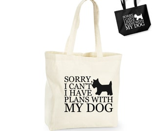 Sorry I Can't I Have Plans With My Dog Lightweight Cotton Shopping Bag/Tote - Novelty Gift/Secret Santa/Xmas/Dog Lover/Funny/Puppy