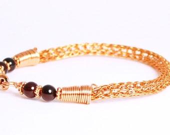 Copper Viking bracelet, red garnet jewelry, woven copper chain Viking knit bracelet, garnet bracelet