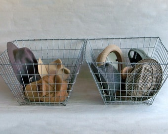 Two Large Welded Wire Baskets with Tapered Sides - Industrial Chic