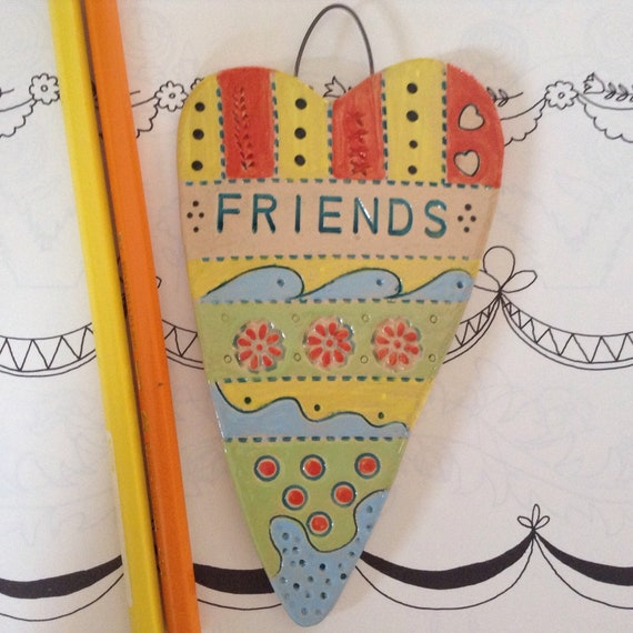 Handmade Ceramic Hanging Heart, friends, friendship heart, pattern, colour, folk art