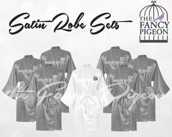 GRAY SATIN ROBES - Personalized Robes - Silk Robes - Bridesmaid Robe - Wedding Robes - Bridesmaid Robes - Kimono - Bridal Robes - Spa Robe