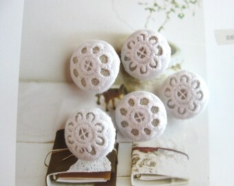 Handmade Small Fabric Buttons Retro Wedding White Floral Flower Lace Covered Buttons, Flat Backs, 0.75 Inches 5's