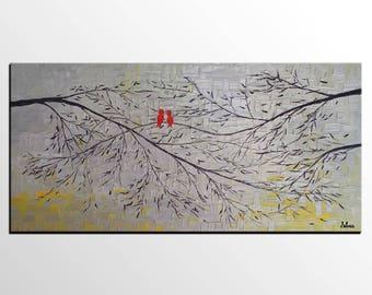 Abstract Art, Love Birds Painting, Original Painting, Original Art Painting, Canvas Wall Art, Large Canvas Art, Large Art, Abstract Painting