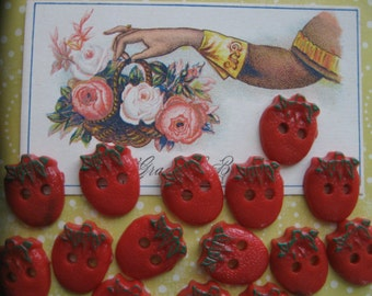 It's Summer....  strawberry buttons sweet enough to eat....circa 1950...lot of 15