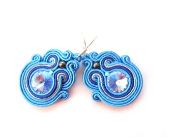 Soutache earrings with Swarovski. In blue and cobalt. With hematite and TOHO. Nautical.