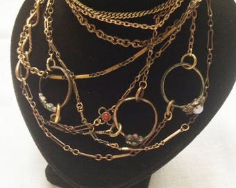 Extra Long Necklace Made with Vintage Recycled Chains, Charms and Rings