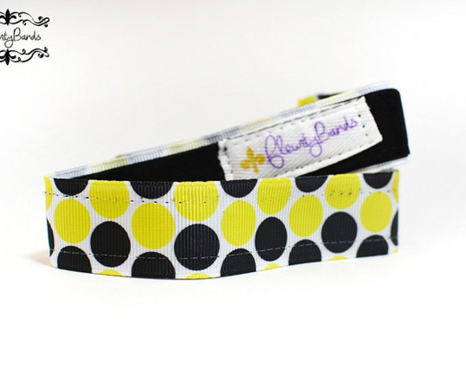 Nonslip Headband Black and Yellow Polka Dots