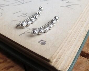 Dainty Rose Ear Climber Earrings in Sterling Silver Flower Earrings Ear Crawlers Perfect 2nd Piercing Earring Floral Earring Bridal Earring
