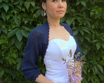 Navy Blue Delicate Bridal Bolero  , Angora Wedding Bolero Shrug