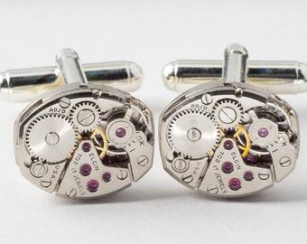 Steampunk cufflinks Steampunk Jewelry vintage Elgin petite oval watch movements gears wedding Grooms Gift silver cuff links men jewelry 1994