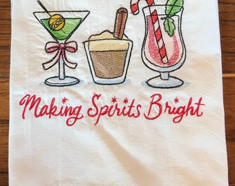 Tea towel, flour sack, dish towel, drinks, Christmas, embroidered towel, kitchen towel, house warming gift, hostess gift, bridal shower