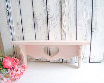 Shabby Chic Pink Heart Shelf, Small Wooden Shelf, Nursery Room Decor, Bedroom Shelf, Display Shelf, Kids Bedroom Shelf, Light Pink Shelf